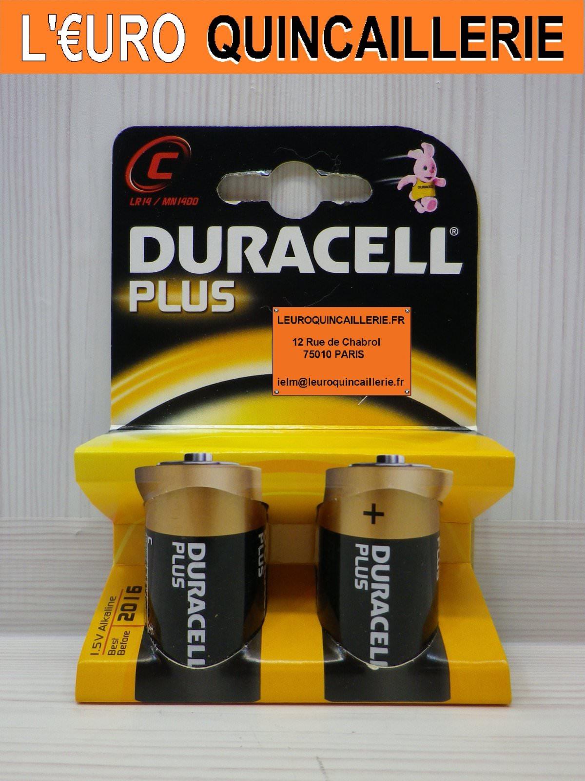 2 Piles LR14 C 1,5V. Duracell Plus Alkaline
