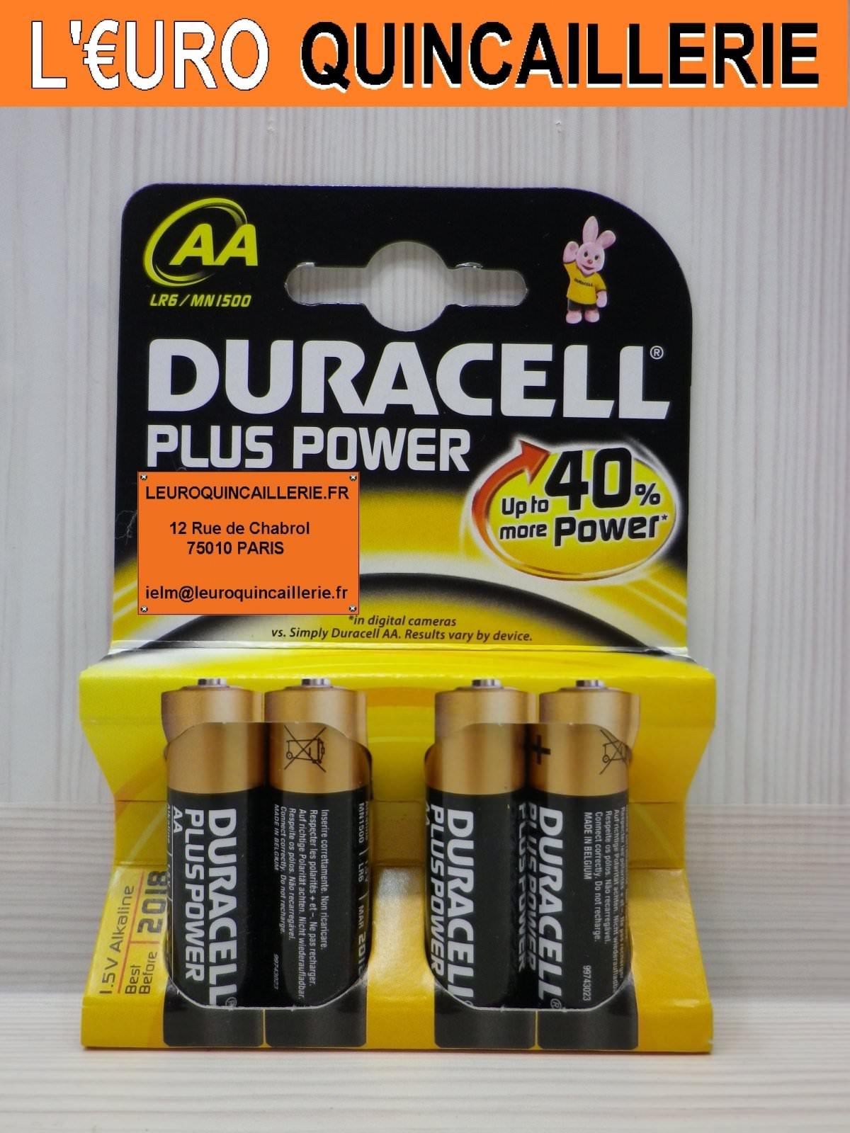 4 Piles LR06 AA Duracell 1,5V