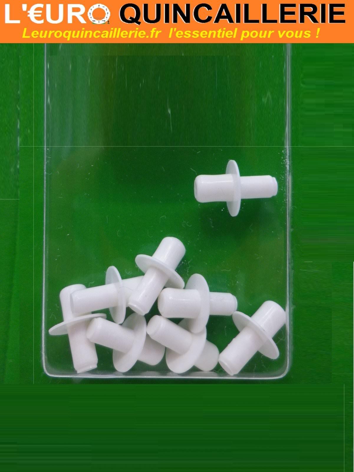 8 Taquets d'étagère cylindriques plastiques 5/6mm