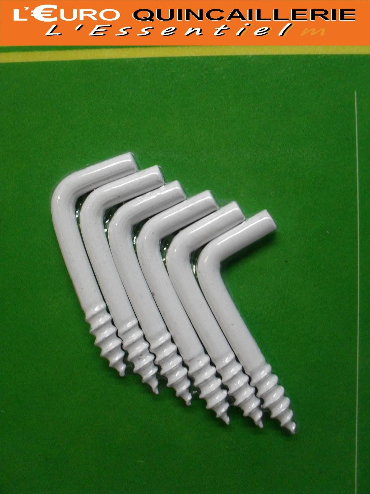 6 Gonds à vis acier plastifié blanc 3x30mm