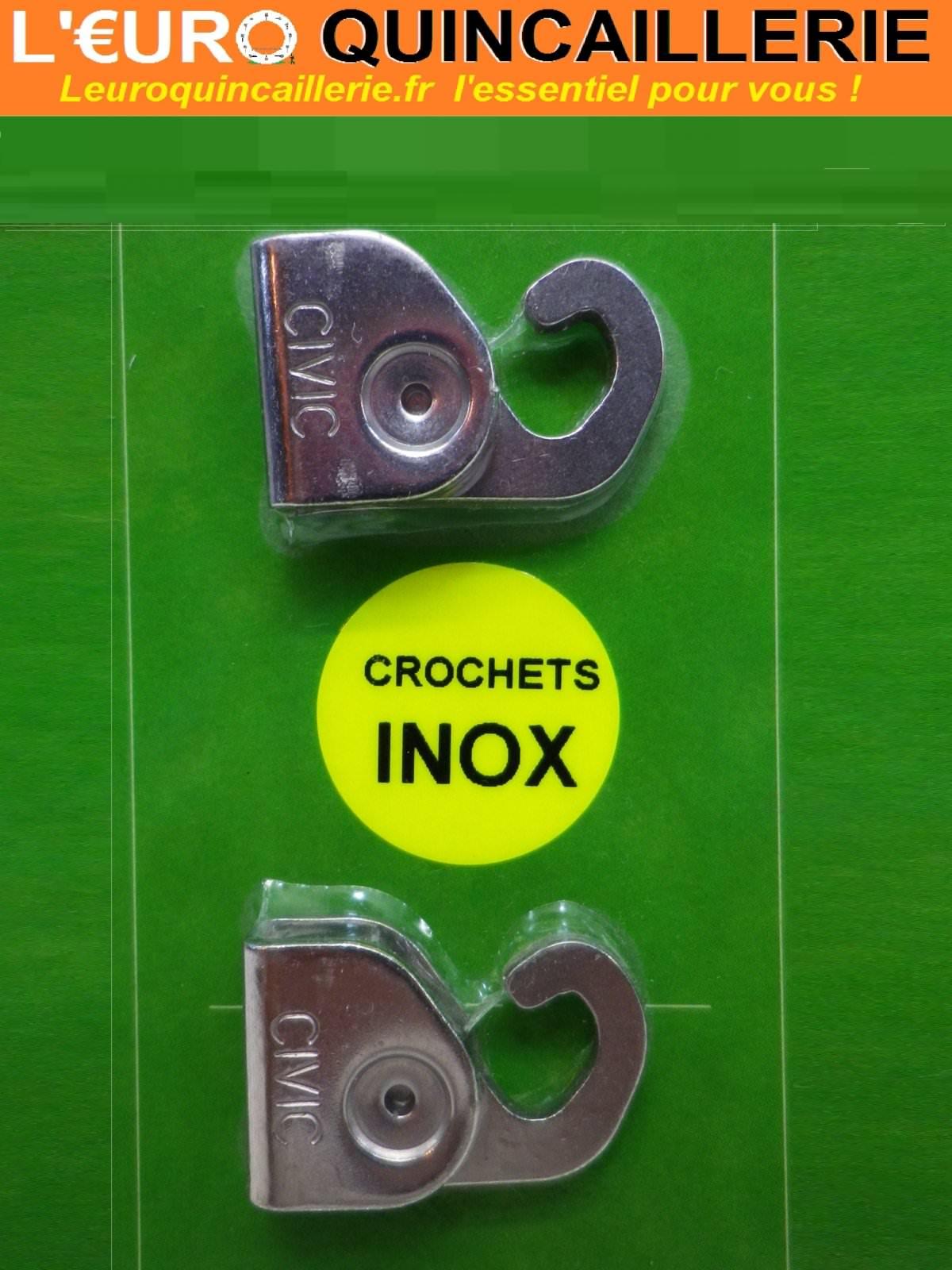 2 Crochets inox universels de cimaise