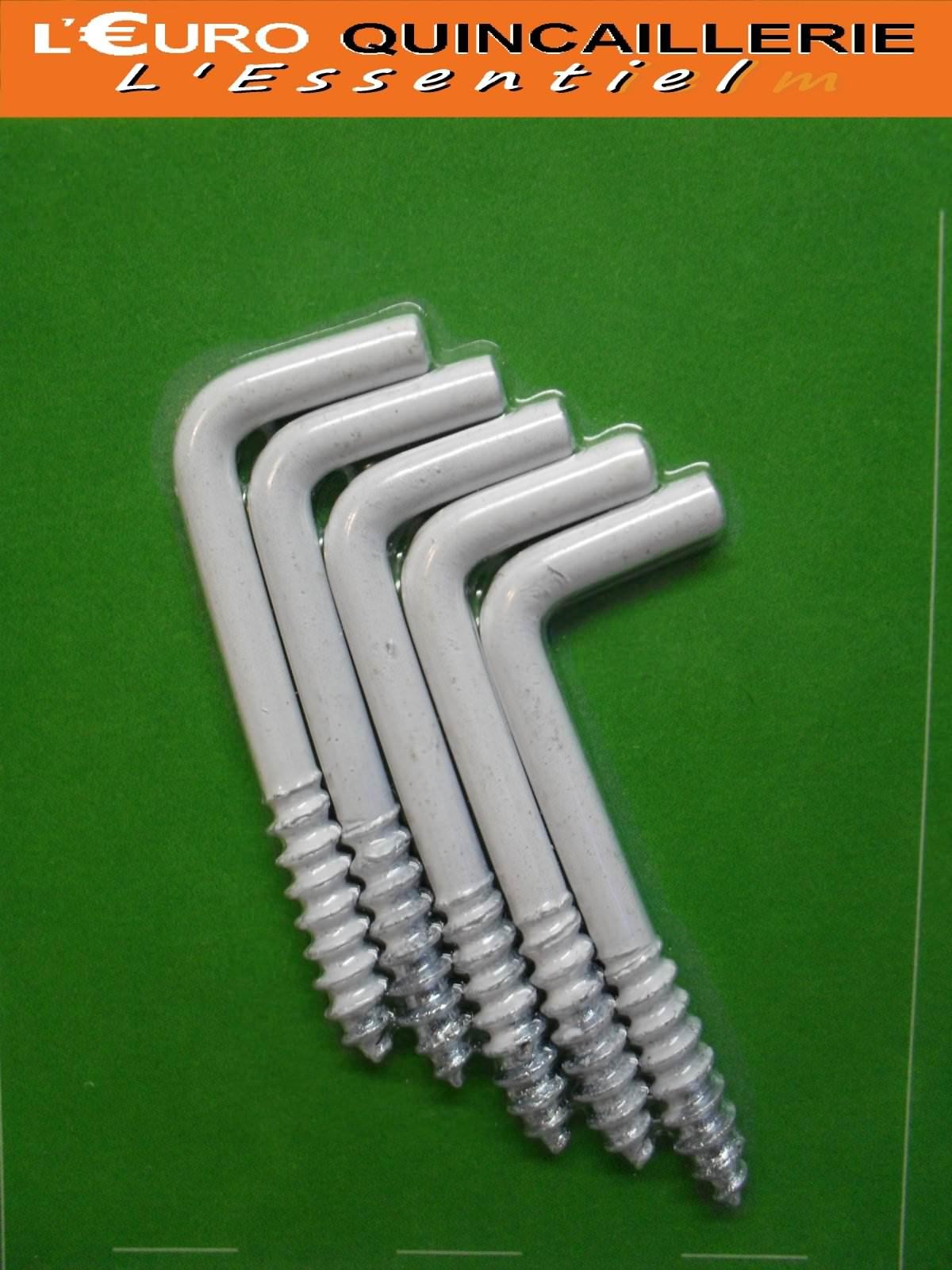 5 Gonds à vis acier plastifié blanc 3,5x40mm