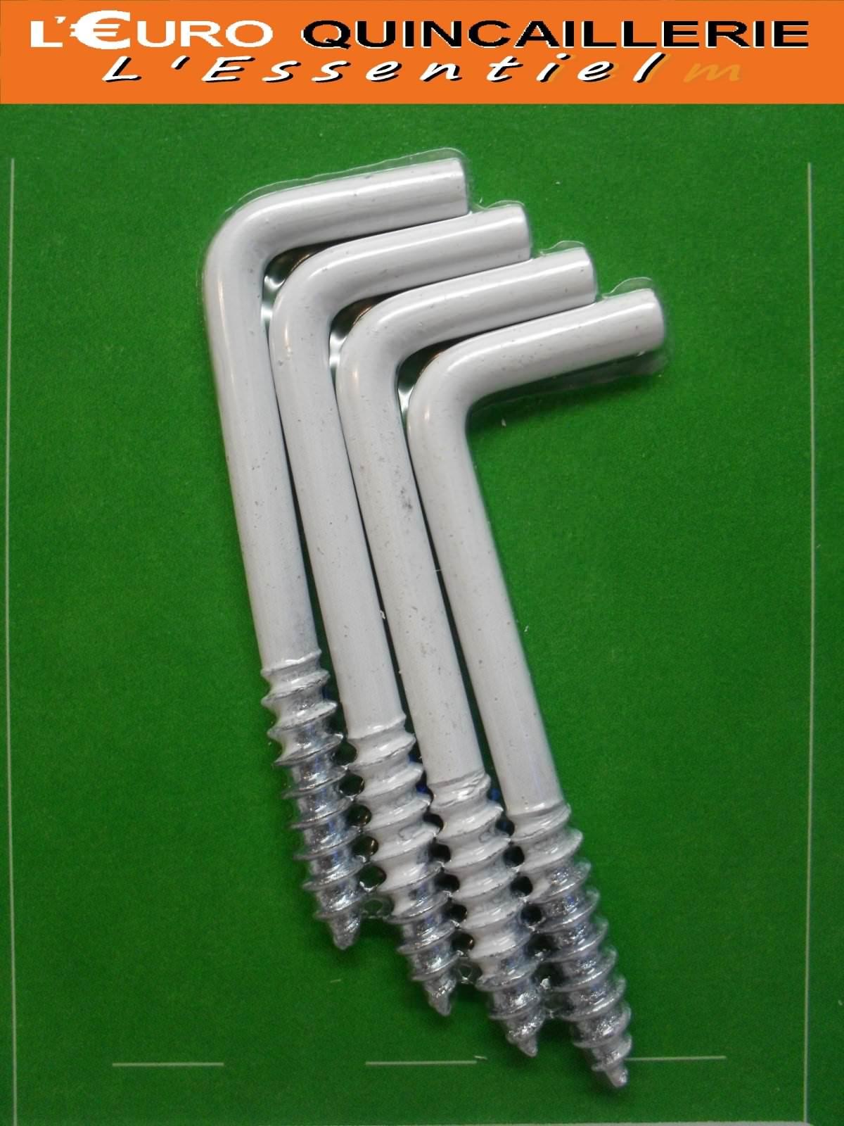 4 Gonds à vis acier plastifié blanc 4x50mm
