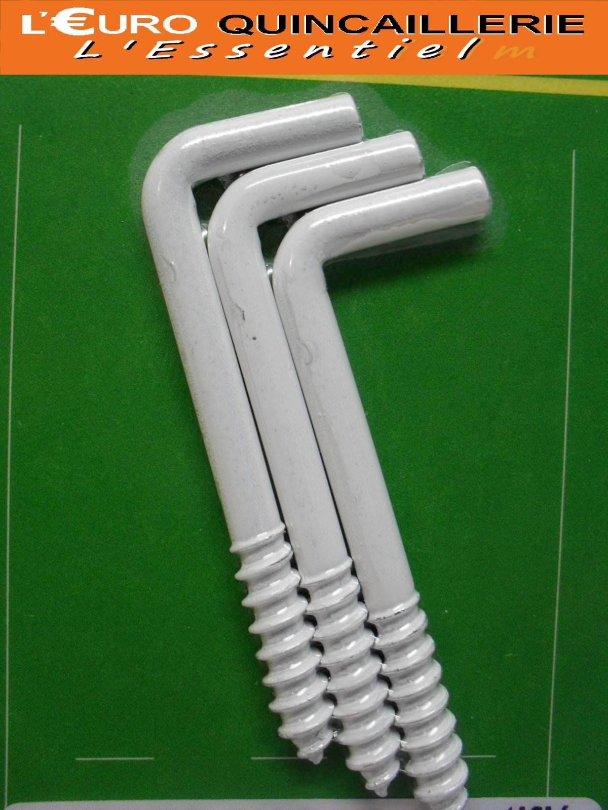 3 Gonds à vis acier plastifié blanc 4,5x60mm