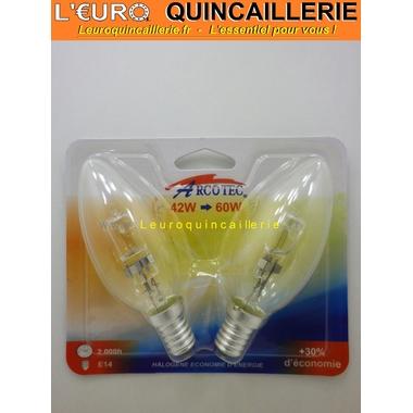 Ampoule flamme halogène E14  42w=60w x2