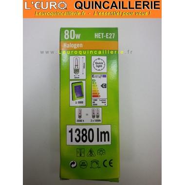 Ampoule Halogène tube économique 80W=100W HET-E27