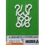 CROCHETS + PITONS ACIER PLASTIFIER BLANC 2,25x10 +