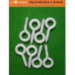 8 Pitons à vis acier plastifié blanc 2,25x10mm
