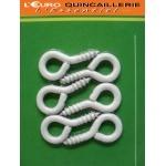 6 Pitons à vis acier plastifié blanc 3x16mm