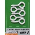PITONS A VIS ACIER PLASTIFIE BLANC 3,5x20