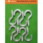 8 Crochets à vis acier zingué 2,5x12mm
