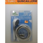 Ensemble Douchette chrome 1 jet + Flexible 1.50 mètre standard  inox