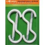 4 Crochets à vis acier plastifié blanc 4x30mm