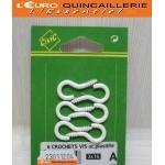 CROCHETS A VIS ACIER PLASTIFIE BLANC 3x16