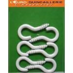 6 Crochets à vis acier plastifié blanc 3x16mm