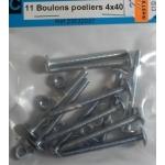 11 BOULONS POELIERS ACIER ZINGUE 4x40