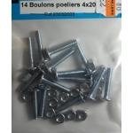 14 BOULONS POELIERS ACIER ZINGUE 4x20