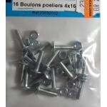 16 BOULONS POELIERS ACIER ZINGUE 4x16