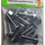 9 BOULONS POELIERS ACIER ZINGE 8X30