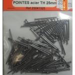 150 POINTES ACIER TETE HOMME 25mm