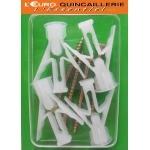4 Chevilles plastiques matériaux creux Ø 10mm VIS 4.5x50mm