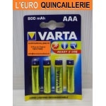 4 Piles rechargeable Varta HR03 AAA