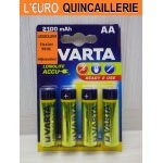 4 Piles rechargeable Varta HR6 AA  Ni-MH 1,2V. 2100mAh