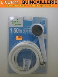 ENSEMBLE DOUCHETTE ET FLEXIBLE DE DOUCHE PVC BLANC 1.50 METRE
