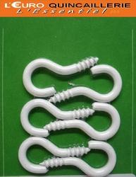 CROCHETS A VIS ACIER PLASTIFIE BLANC 3x16 (2)