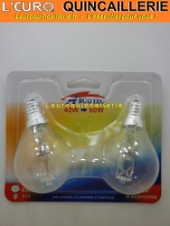 Ampoule sphérique halogène E14 42w=60w x2