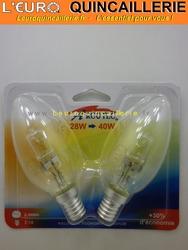 Ampoule flamme halogène E14 28w=40w x2