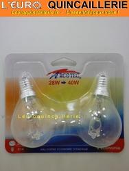 Ampoule sphérique halogène E14 28w=40w x2