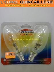 Ampoule flamme halogène E14 18w=25w x2