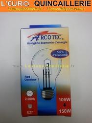 Ampoule classique halogène E27 105w=150w