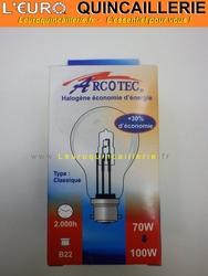 Ampoule classique halogène B22 70w=100w
