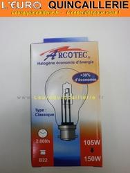 Ampoule classique halogène B22 105w=150w