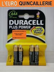 4 PILES LR03 AAA DURACELL PLUS POWER