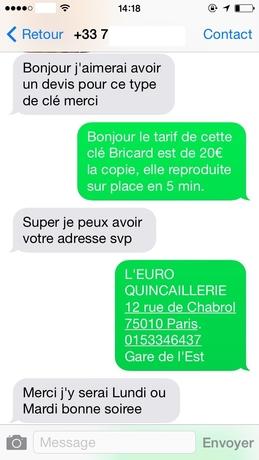 Reponse message client tarif de 20 euros la copie