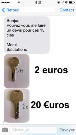 Devis tarif de clés moins cher