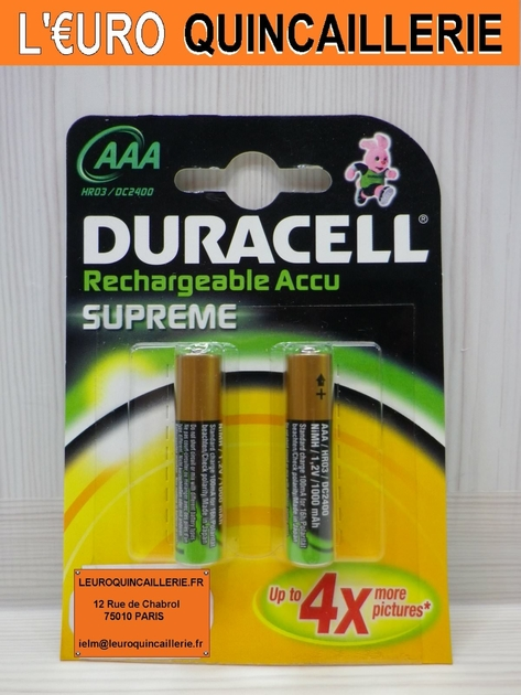 2 piles rechargeable duracell hr03 aaa piles piles rechargeable. Black Bedroom Furniture Sets. Home Design Ideas