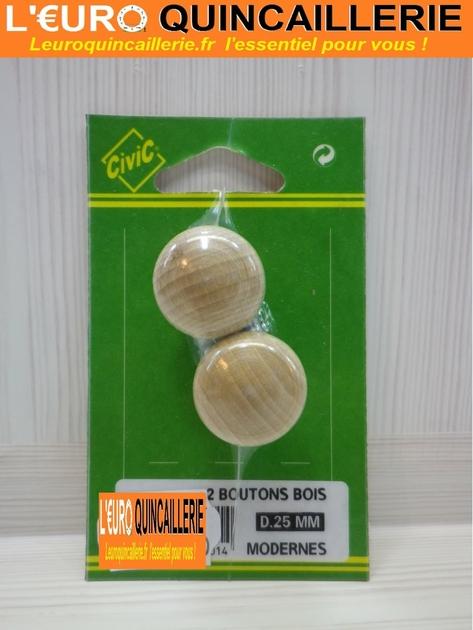 2 boutons de meubles bois moderne 25mm quincaillerie for Quincaillerie assemblage meuble bois