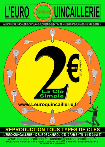 cbb6334b1583 CLÉS MINUTE PARIS 10 Pas cher - Leuroquincaillerie.fr