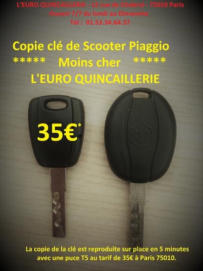Copie de clé Piaggio Moins Cher Scooter