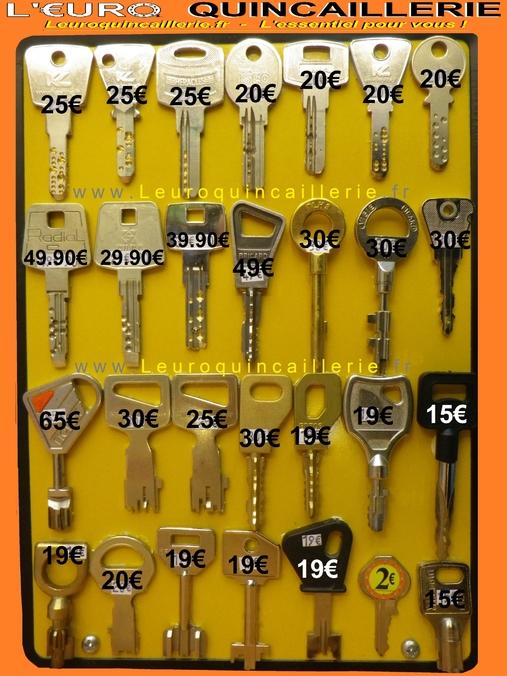 Copie de clé moins cher avec tarif des clés