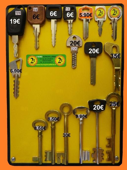 Tarif des clés minute Leuroquincaillerie.fr moins cher