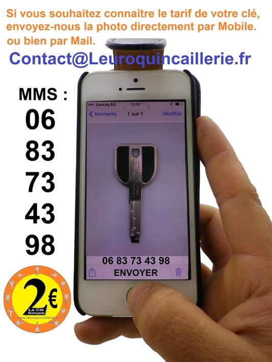 0683734398 Envoyez-nous la photo de votre clé par mobile Smartphone pour connaitre le tarif de la clé