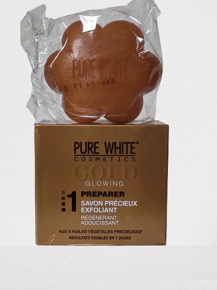 PURE GOLD WHITE SAVON ECLAIRCISSANT AUX 6 HUILES PRECIEUSES ORIGINAL 150G