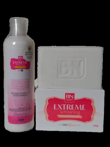 BN EXTREME WHITENING lait eclaircissant  LOTION FORT  275 ml+ SAVON BN ORIGINAL