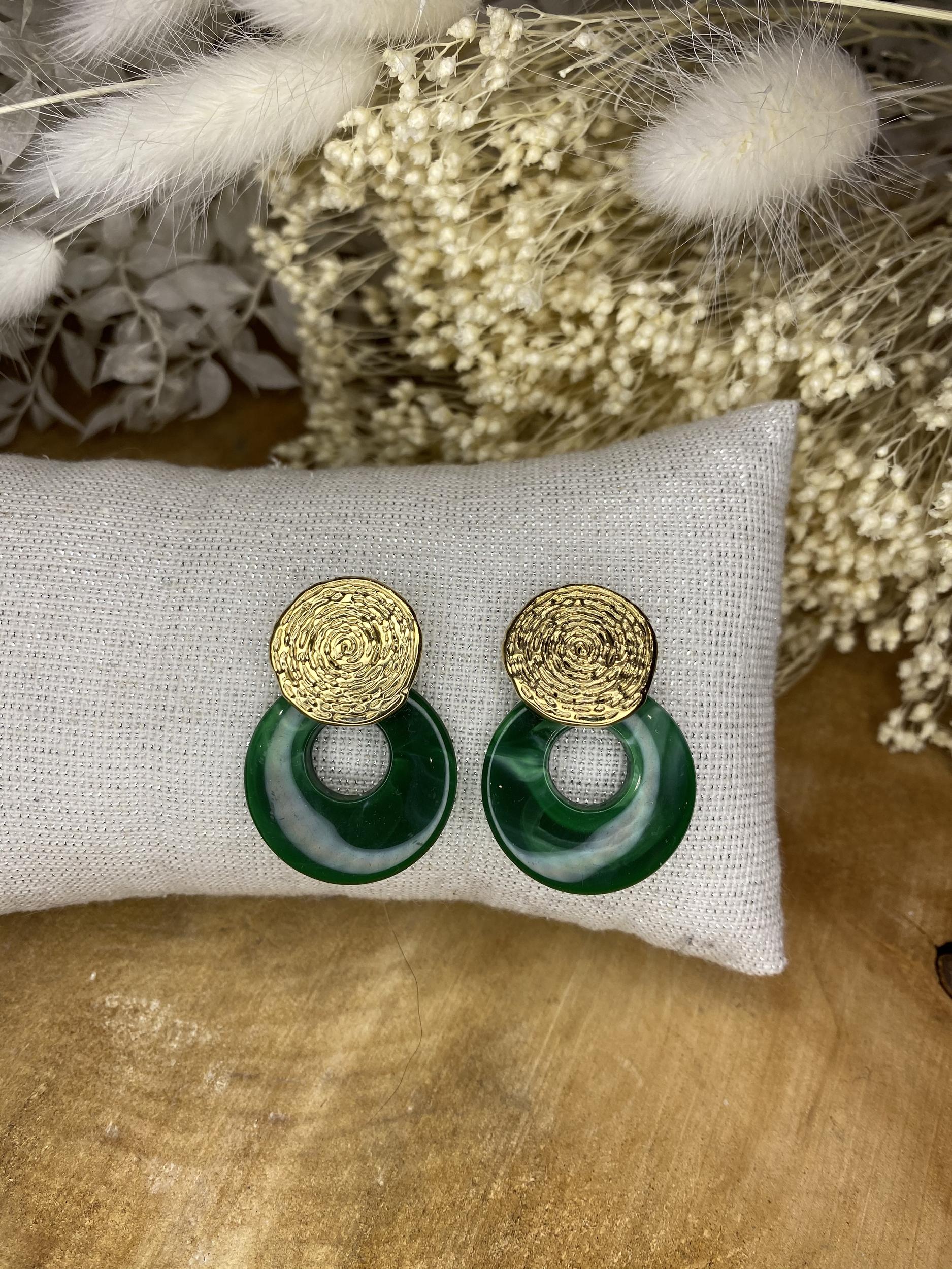 Boucles d\'oreilles Estelle Vert