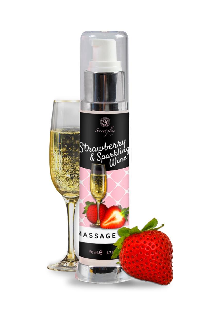 Huile de massage fraise et vin pétillant